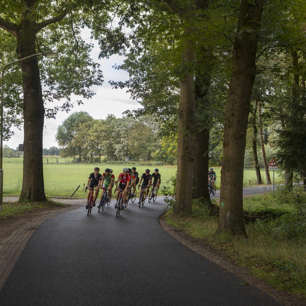 Fietspeloton fietst door groene omgeving